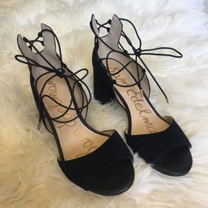 SAM EDELMAN Black Strappy Block Heels